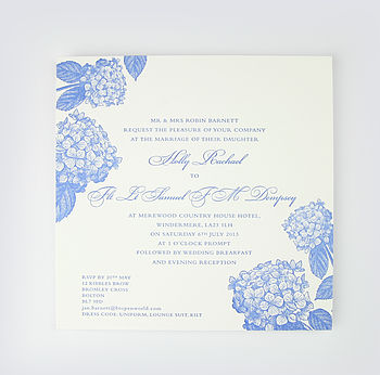 Beth Chatto Letterpress Wedding Invitation