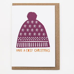 'Bobble Hat' Card - christmas sale