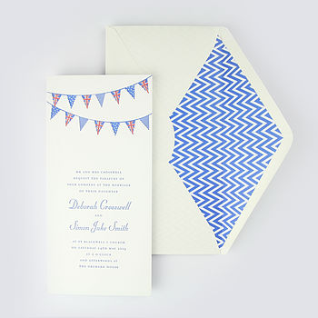 Helmsley Letterpress Wedding Invitation Blue with Graphic paper lined blue envelope
