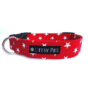 Red Midnight Star Dog Collar - dogs