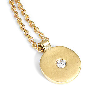 Diamond Gold Disc Pendant - diamonds