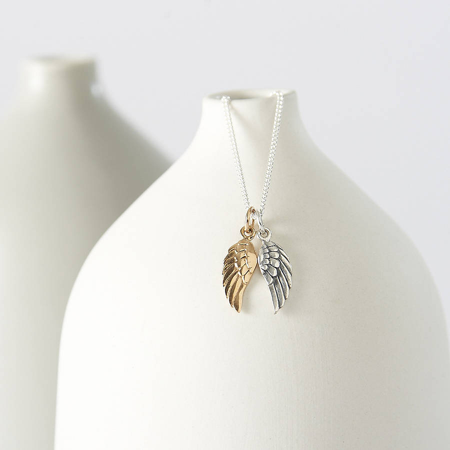 with pendant in angel necklace sterling diamonds wing silver