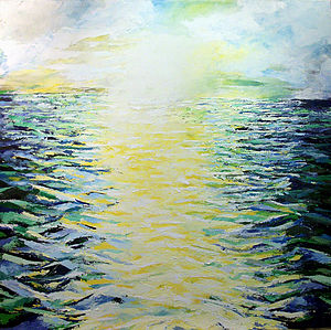 Sea Sunrise Painted On Canvas - home