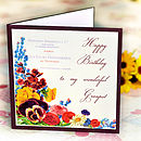 Vintage Flowers Birthday Card
