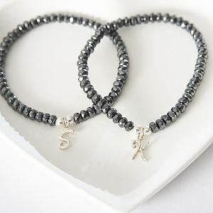 Hematite Initial Sparkle Bracelet - bracelets & bangles