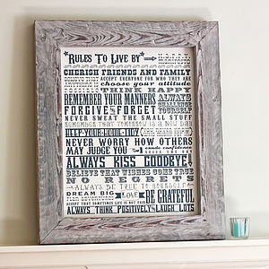 'Rules To Live By' Reclaimed Framed Canvas