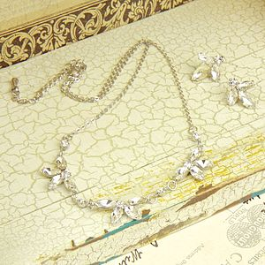 Crystal Flower Earrings And Necklace Set - jewellery sets