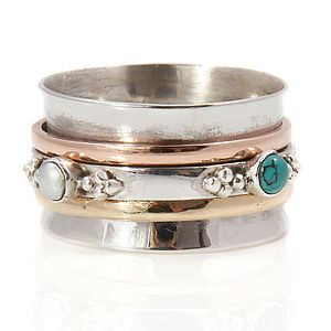 Rajput Turquoise Silver Spinning Ring - women's jewellery