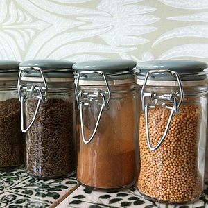 Set Of Three Glass And Ceramic Spice Jars - storage & organisers