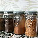Set Of Three Glass And Ceramic Spice Jars