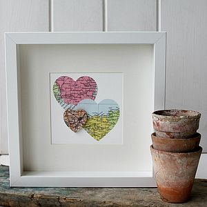 Personalised Multi Heart Map Picture - mixed media & collage