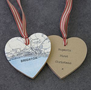 Personalised Wooden Heart Map Decoration - decorative accessories