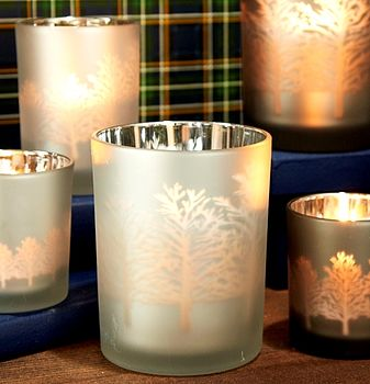Silver Glass Tree Silhouette Tealight Holders
