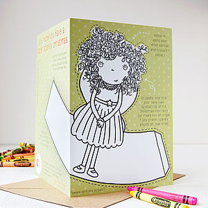 Colour In Fairy Tree Topper Christmas Card - create your own cards