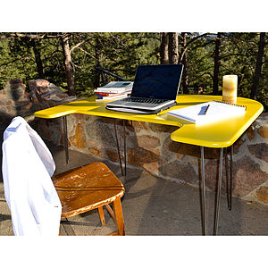 Desk Vibrant Yellow Mid Century Modern - office & study
