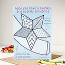 Colour In Star Tree Topper Christmas Card