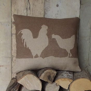 Cockerel And Chicken Hessian Cushion