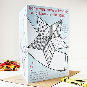 Colour In Star Tree Topper Christmas Card - seasonal cards