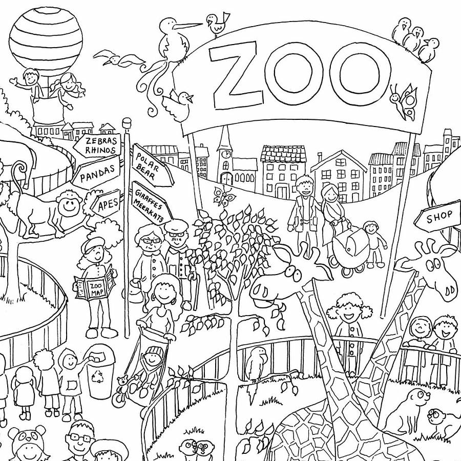 Zoo colouring in poster by really giant posters Coloring book zoo