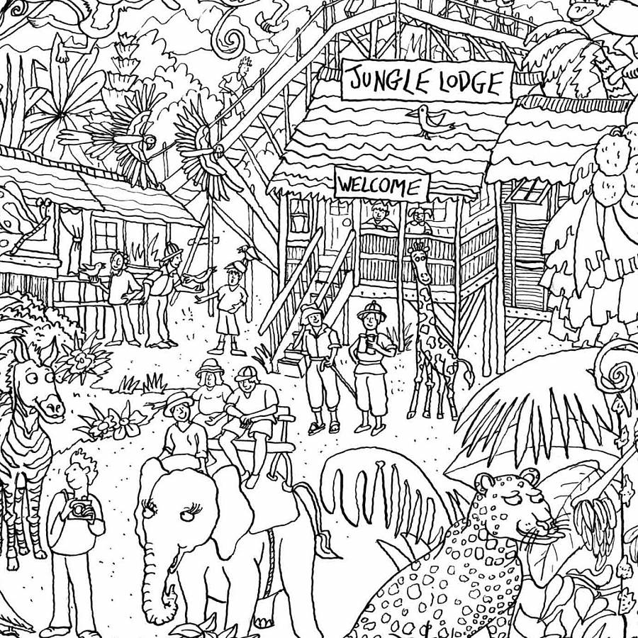 jungle safari colouring in poster - Colouring In Images