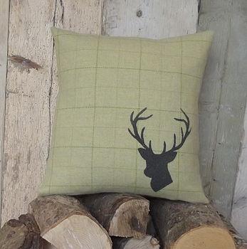 ' Stag's Head ' Hand Printed Irish Tweed Cushion