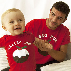 'Big Pud Little Pud' Christmas T Shirt Set - christmas clothes for babies and children