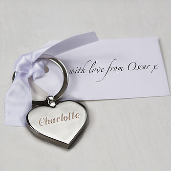 Personalised Engraved Heart Keyring With Tag