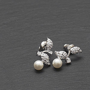 Crystal Leaf Pearl Earrings