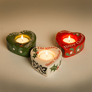 Personalised Christmas Tea Light Holder - christmas lights