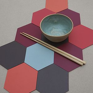 Set Of Six Hexagon Leather Coasters - placemats & coasters