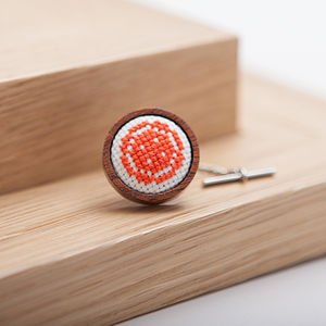 Hand Embroidered Button Tie Pin - tie pins & clips