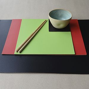 Set Of Four Square Leather Placemats - placemats & coasters