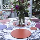 Set Of Four Round Leather Placemats
