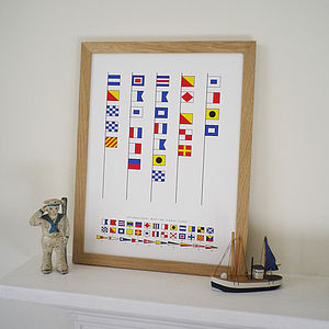 Personalised Naval Signal Flags Print - shop by price