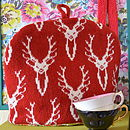 Stag Head Tea Cosy Red