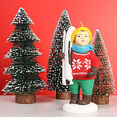 Winter Candle Boy With Ski - christmas decorations