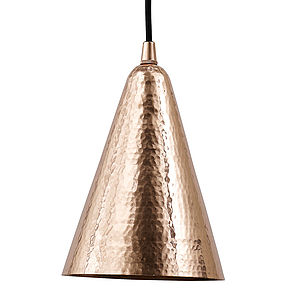 Copper Hammered Ceiling Pendant Cone - bedroom