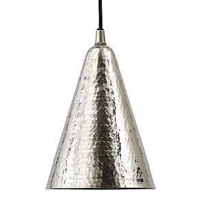 Silver Hammered Ceiling Pendant Cone