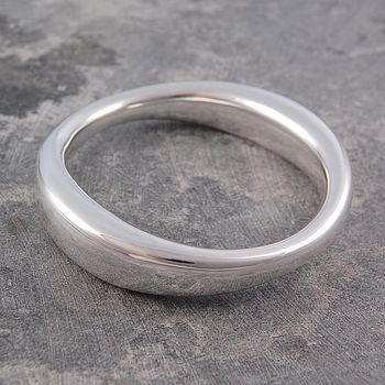 Chunky Sterling Silver Flowing Bangle