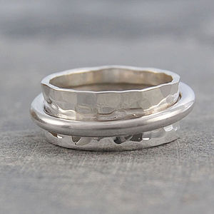Chunky Sterling Silver Rotating Ring - rings