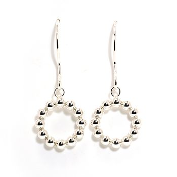 All Circle Silver Dangle Earrings