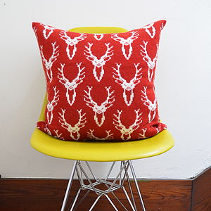 Stag Head Knitted Cushion