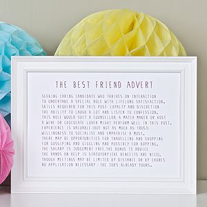 Best Friend Advert Poem Print - stocking fillers