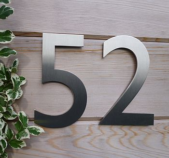 Designer Gill Sans Stainless Steel House Number