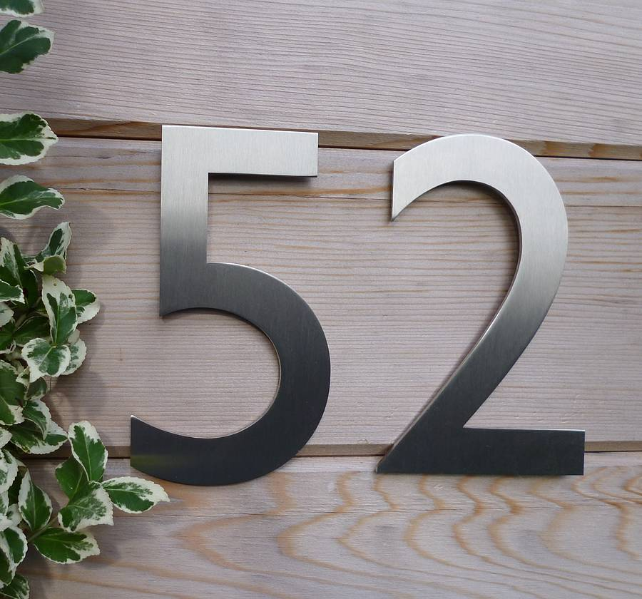 Designer gill sans stainless steel house number by for Big modern house numbers
