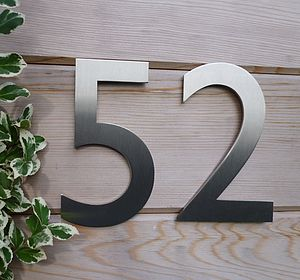 Designer Gill Sans Stainless Steel House Number - home decorating