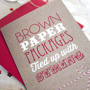 Brown Paper Packages Christmas Card - cards