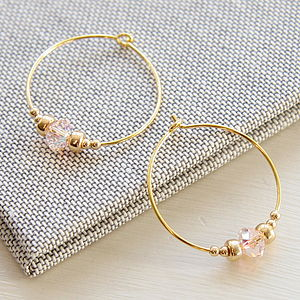 Swarovski Crystal And Gold Bead Hoops - earrings