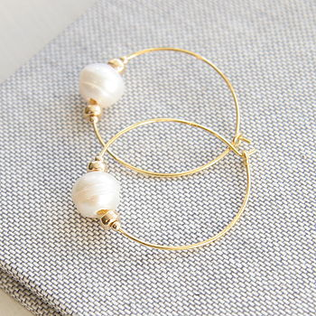 Freshwater Pearl Hoop Earrings