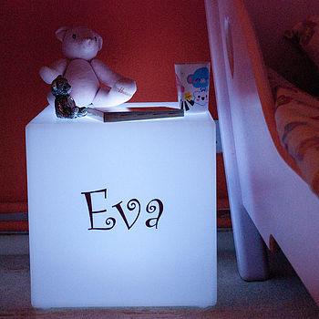 Personalised bedside cube - lit white